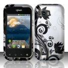 Hard Rubber Feel Design Case for LG myTouch Q C800 (T-Mobile) - Black Vines