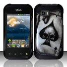 Hard Rubber Feel Design Case for LG myTouch Q C800 (T-Mobile) - Spade Skull