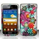 Hard Rubber Feel Design Case for Samsung Exhibit II 4G - Purple Blue Flowers
