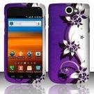 Hard Rubber Feel Design Case for Samsung Exhibit II 4G - Purple Vines