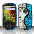 Hard Rubber Feel Design Case for Huawei M835 (MetroPCS) - Blue Vines