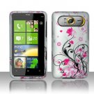 Hard Rubber Feel Design Case for HTC HD7/HD7S - Pink Garden