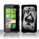 Hard Rubber Feel Design Case for HTC HD7/HD7S - Spade Skull
