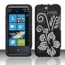 Hard Rhinestone Design Case for HTC Arrive (Sprint) - Black Flowers