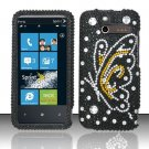 Hard Rhinestone Design Case for HTC Arrive (Sprint) - Black Butterfly