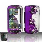 Hard Rubber Feel Design Case for Samsung Epic 4G - Purple Vines