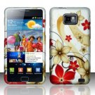 Hard Rubber Feel Design Case for Samsung Galaxy S II i777/i9100 (AT&T) - Red Flowers