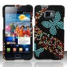 Hard Rhinestone Design Case for Samsung Galaxy S II i777/i9100 (AT&T) - Blue Butterfly