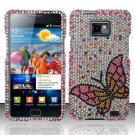 Hard Rhinestone Design Case for Samsung Galaxy S II i777/i9100 (AT&T) - Fluorescent Butterfly