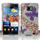 Hard Rhinestone Design Case for Samsung Galaxy S II i777/i9100 (AT&T) - Purple Butterfly
