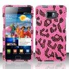 Hard Rhinestone Design Case for Samsung Galaxy S II i777/i9100 (AT&T) - Pink Leopard