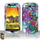 Hard Rubber Feel Design Case for HTC myTouch 4G (T-Mobile) - Purple Blue Flowers