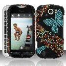 Hard Rhinestone Design Case for HTC myTouch 4G Slide (T-Mobile) - Blue Butterfly