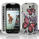 Hard Rhinestone Design Case for HTC myTouch 4G Slide (T-Mobile) - Pink Butterfly