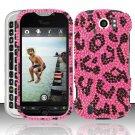 Hard Rhinestone Design Case for HTC myTouch 4G Slide (T-Mobile) - Pink Leopard
