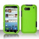 Hard Rubber Feel Plastic Case for Motorola Defy MB525 (T-Mobile) - Neon Green