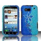 Hard Rhinestone Design Case for Motorola Defy MB525 (T-Mobile) - Blue Flowers