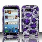 Hard Rhinestone Design Case for Motorola Defy MB525 (T-Mobile) - Purple Leopard