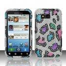 Hard Rhinestone Design Case for Motorola Defy MB525 (T-Mobile) - Colorful Leopard
