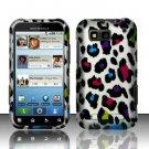 Hard Rubber Feel Design Case for Motorola Defy MB525 (T-Mobile) - Colorful Leopard