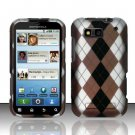 Hard Rubber Feel Design Case for Motorola Defy MB525 (T-Mobile) - Argyle