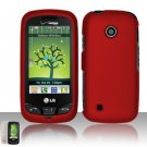 Hard Rubber Feel Plastic Case for LG Beacon/Attune (MetroPCS/U.S. Cellular) - Red