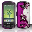 Hard Rubber Feel Design Case for LG Beacon/Attune (MetroPCS/U.S. Cellular) - Purple Vines