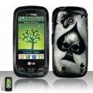 Hard Rubber Feel Design Case for LG Beacon/Attune (MetroPCS/U.S. Cellular) - Spade Skull