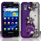Hard Rubber Feel Design Case for Samsung Captivate Glide 4G - Purple Vines