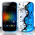 Hard Rubber Feel Design Case for Samsung Galaxy Nexus i515 - Blue Vines