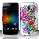 Hard Rubber Feel Design Case for Samsung Galaxy Nexus i515 - Purple Blue Flowers