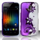 Hard Rubber Feel Design Case for Samsung Galaxy Nexus i515 - Purple Vines