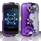 Hard Rubber Feel Design Case for Pantech Burst P9070 (AT&T) (AT&T) - Purple Vines