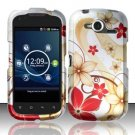Hard Rubber Feel Design Case for Pantech Burst P9070 (AT&T) (AT&T) - Red Flowers