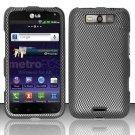 Hard Rubber Feel Design Case for LG Viper 4G LTE/Connect 4G (Sprint/MetroPCS) - Carbon Fiber
