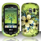 Hard Rubber Feel Design Case for LG Extrovert VN271 (Verizon) - Hawaiian Flowers