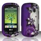 Hard Rubber Feel Design Case for LG Extrovert VN271 (Verizon) - Purple Vines