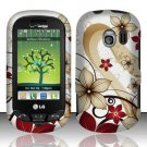 Hard Rubber Feel Design Case for LG Extrovert VN271 (Verizon) - Red Flowers