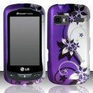 Hard Rubber Feel Design Case for LG Rumor Reflex (Sprint/Boost) - Purple Vines