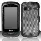 Hard Rubber Feel Design Case for LG Rumor Reflex (Sprint/Boost) - Carbon Fiber