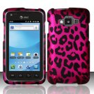 Hard Rubber Feel Design Case for Samsung Rugby Smart i847 - Pink Leopard