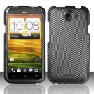 Hard Rubber Feel Design Case for HTC One X (AT&T) - Carbon Fiber