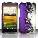 Hard Rubber Feel Design Case for HTC One X (AT&T) - Purple Vines