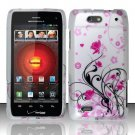 Hard Rubber Feel Design Case for Motorola Droid 4 XT894 (Verizon) - Pink Garden