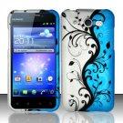 Hard Rubber Feel Design Case for Huawei Mercury M886 (Cricket) - Blue Vines