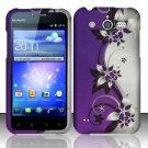 Hard Rubber Feel Design Case for Huawei Mercury M886 (Cricket) - Purple Vines
