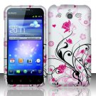 Hard Rubber Feel Design Case for Huawei Mercury M886 (Cricket) - Pink Garden