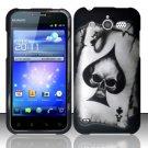 Hard Rubber Feel Design Case for Huawei Mercury M886 (Cricket) - Spade Skull