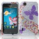 Hard Rhinestone Design Case for LG myTouch LU9400 (T-Mobile) - Purple Butterfly
