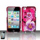 Hard Rubber Feel Design Case for Apple iPod Touch 4 - Hibiscus Flowers